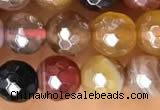 CAA5490 15 inches 6mm faceted round AB-color banded agate beads