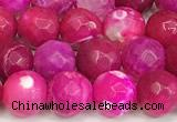 CAA5513 15 inches 8mm faceted round fire crackle agate beads