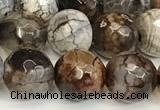 CAA5533 15 inches 10mm faceted round fire crackle agate beads