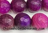 CAA5541 15 inches 12mm faceted round fire crackle agate beads