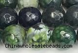CAA5546 15 inches 12mm faceted round fire crackle agate beads