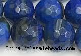CAA5547 15 inches 12mm faceted round fire crackle agate beads