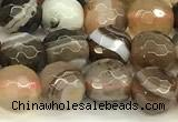 CAA5735 15 inches 6mm faceted round banded agate beads
