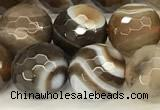 CAA5736 15 inches 8mm faceted round banded agate beads