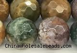 CAA5777 15 inches 10mm faceted round ocean agate beads
