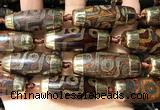 CAA5862 14*38mm - 16*43mm rice tibetan agate dzi beads