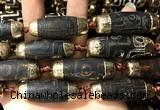 CAA5864 14*38mm - 16*43mm rice tibetan agate dzi beads