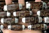 CAA5872 14*38mm - 16*43mm rice tibetan agate dzi beads