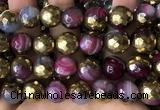 CAA5876 15 inches 6mm,8mm,10mm & 12mm faceted round electroplated banded agate beads