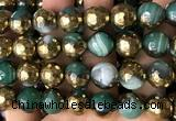 CAA5877 15 inches 6mm,8mm,10mm & 12mm faceted round electroplated banded agate beads