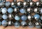 CAA5878 15 inches 6mm,8mm,10mm & 12mm faceted round electroplated banded agate beads