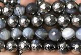CAA5879 15 inches 6mm,8mm,10mm & 12mm faceted round electroplated banded agate beads