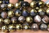 CAA5880 15 inches 6mm,8mm,10mm & 12mm faceted round electroplated banded agate beads