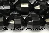 CCB1318 15 inches 9mm - 10mm faceted black agate beads