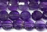 CCB1414 15 inches 6mm faceted coin amethyst beads