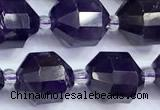 CCB1527 15 inches 9mm - 10mm faceted amethyst gemstone beads