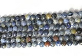CCB755 15.5 inches 8mm faceted coin blue dumortierite beads