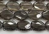 CCB932 15.5 inches 8*10mm faceted oval smoky quartz beads