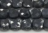 CCB978 15.5 inches 6*6mm faceted square black onyx beads