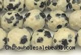 CDM100 15 inches 6mm faceted round dalmatian jasper beads