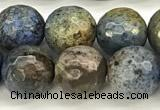 CDU381 15 inches 8mm faceted round dumortierite beads