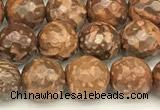 CEJ310 15 inches 6mm faceted round elephant skin jasper beads
