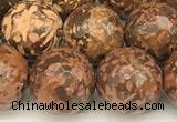 CEJ311 15 inches 8mm faceted round elephant skin jasper beads