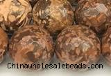 CEJ312 15 inches 10mm faceted round elephant skin jasper beads