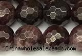 CGA731 15 inches 8mm faceted round red garnet beads wholesale