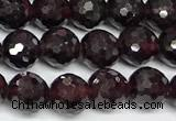 CGA736 15 inches 6mm faceted round red garnet beads