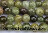 CGA835 15 inches 4mm round green garnet beads