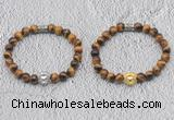 CGB6006 8mm round yellow tiger eye bracelet with lion head for men