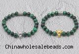 CGB6038 8mm round green tiger eye bracelet with leopard lead for men