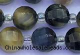 CME352 15 inches 8mm pumpkin golden & blue tiger eye beads