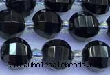 CME353 15 inches 8mm pumpkin black agate beads