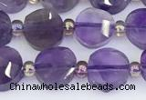 CNA1216 15.5 inches 8mm faceted coin amethyst gemstone beads