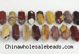 CNG8917 15.5 inches 10*25mm - 15*30mm faceted nuggets mookaite beads
