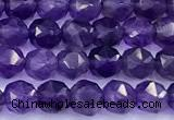 CNG9109 15 inches 4mm faceted nuggets amethyst beads