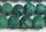 CNT534 15.5 inches 8mm faceted round turquoise gemstone beads