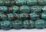 CNT547 15.5 inches 6*8mm rice turquoise gemstone beads