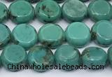 CNT559 15.5 inches 8mm flat round turquoise gemstone beads