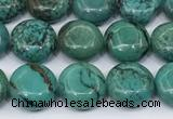 CNT561 15.5 inches 10mm flat round turquoise gemstone beads