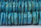 CNT570 15.5 inches 2.5*10mm - 4*10mm disk turquoise gemstone beads