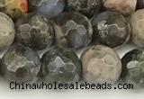 COP1810 15 inches 6mm faceted round grey opal beads