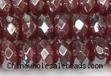 CRB5709 15 inches 5*8mm faceted rondelle AB-color red agate beads