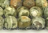 CRH580 15 inches 6mm faceted round rhyolite beads wholesale