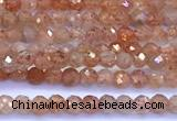 CSS835 15 inches 2mm faceted round golden sunstone beads