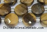 CTE2247 15.5 inches 8mm faceted coin yellow tiger eye beads