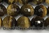 CTE2252 15 inches 8mm faceted round yellow tiger eye beads