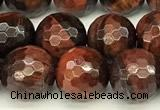 CTE2321 15 inches 8mm faceted round red tiger eye beads